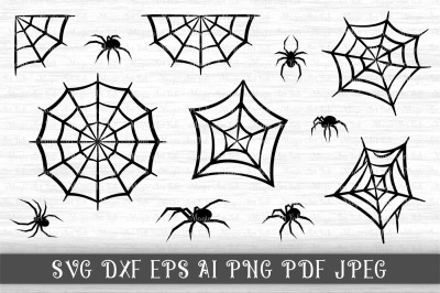 Spider SVG, Black widow clipart, Spider web cut file