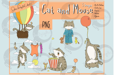 Cat and Mouse | Clip Art Illustrations | PNG images