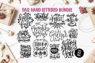 Fall/Autumn SVG Hand Lettered Bundle