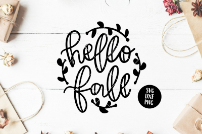 HELLO FALL Hand Lettered SVG Phrase