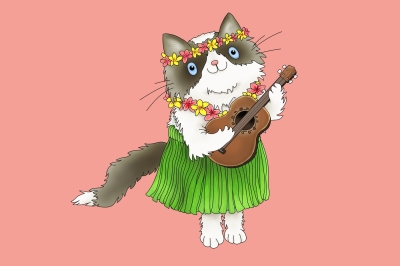 Hawaiian Rag-doll Cat with Ukulele | JPEG/PNG Clip art illustration