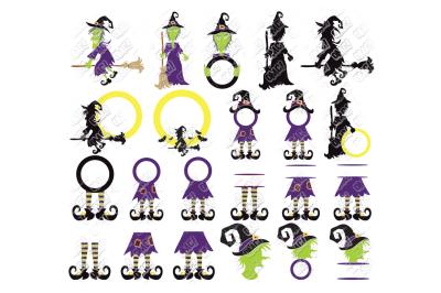 Witch SVG Bundle Halloween Monogram in SVG/DXF/PNG/JPG/EPS