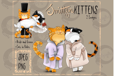 Smitten Kittens | Clip Art cat illustrations PNG/JPEG