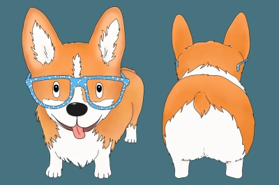Corgi Dog with Glasses | Front and Rear view | PNG/JPEG