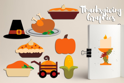 Thanksgiving Dinner Treat Food Clipart Graphics