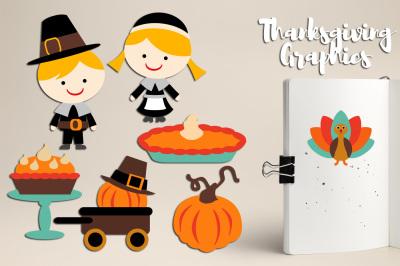 Thanksgiving graphics (pilgrim, pumpkin, pie)