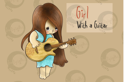 Girl with a Guitar | PNG/JPEG clip art illustration