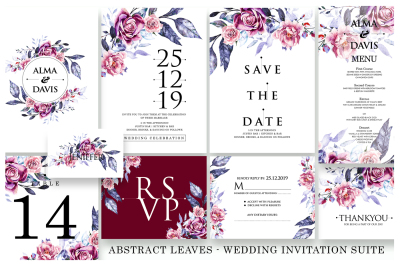 Abstract Leaves - Wedding Invitation As.10