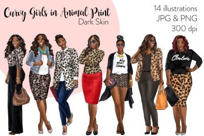 Watercolor Fashion Clipart - Curvy Girls in Animal Print - Dark Skin