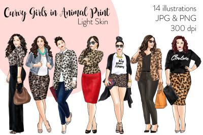 Watercolor Fashion Clipart - Curvy Girls in Animal Print - Light Skin