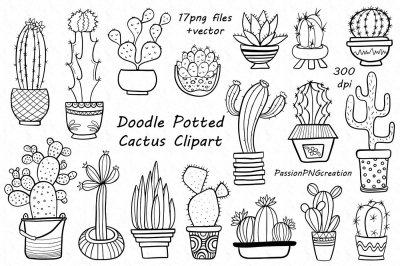 Doodle Potted Cactus Clipart