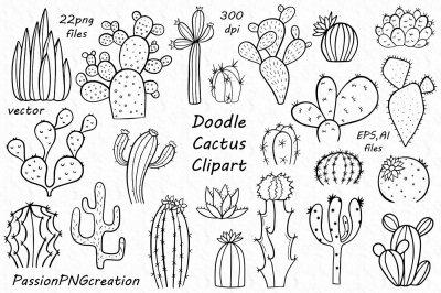 Doodle Cactus Clipart