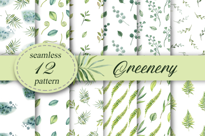 Greenery seamless patterns
