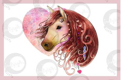 Love Horse   Clip art illustration JPG/PNG