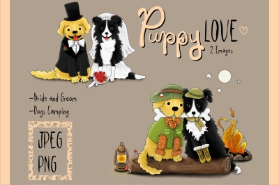 Puppy Love | Clip art illustrations PNG/JPEG