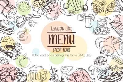 Restaurant Menu - 430 vector food icons