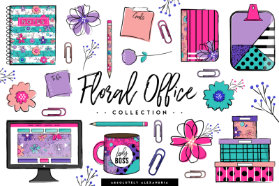 Floral Office Clipart Illustrations & Seamless Paper Patterns Bundle