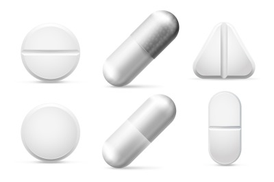 Round white cure pills, aspirin, antibiotics and painkiller drugs. Pai