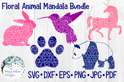 Floral Animal Mandala Bundle | Unicorn, Panda Bear, Bird, Paw, Rabbit