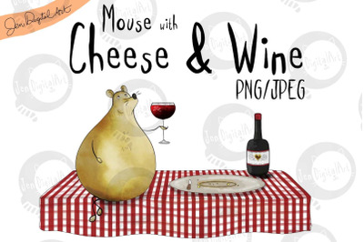 Mouse with Cheese and Wine | Clip art illustration PNG/JPEG