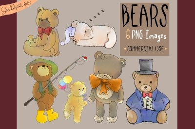 Assorted Bears | 6 PNG clip art illustrations
