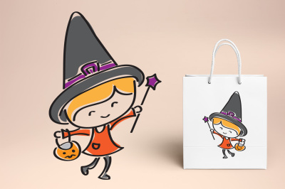 Cute little witch hand drawn illustration clipart