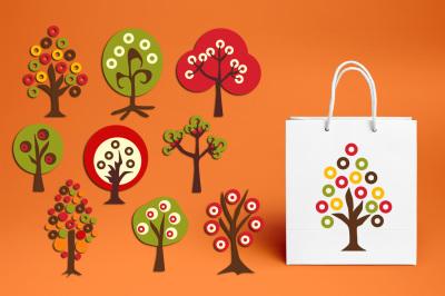 Retro Autumn Trees Clipart Graphics