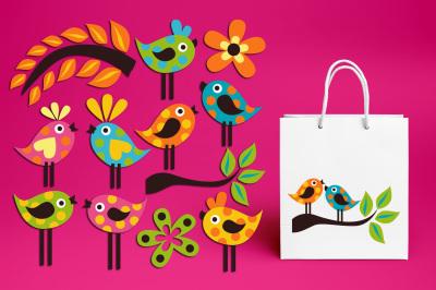 Polkadot Birds Graphics, Vibrant Colors