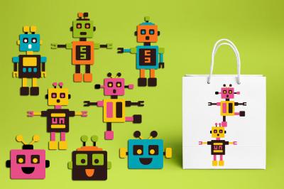 Robot clipart graphics, Vibrant colors