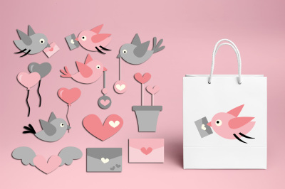 Love Birds Love Letter Pink Gray Clipart Graphics