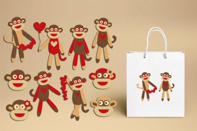Love sock monkey clipart graphics