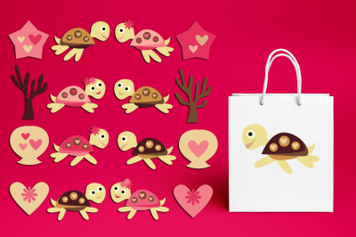Cute sea turtle clipart graphics, pink brown