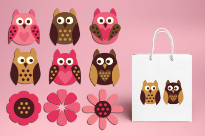 Cute simple owls pink brown clipart graphics