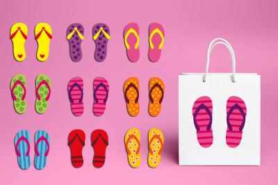 Girly Flip Flop Summer Graphics Clipart