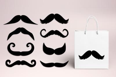 Black Mustache Clipart, vintage retro graphics