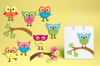 Cute owl clipart, summer graphics