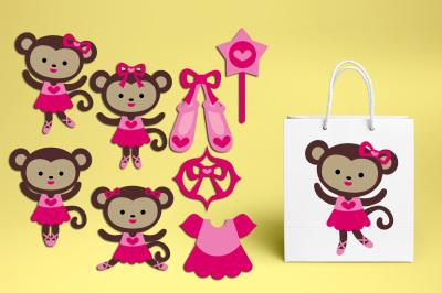 Cute monkey ballerina clipart, pink ballet graphics