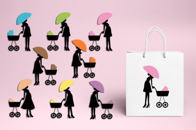 Pregnant woman baby carriage clipart, mom to be graphics