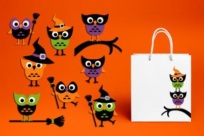 Cute Halloween Owl Broom Clipart Graphics