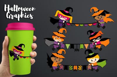 Superhero Banners Halloween Clipart Graphics