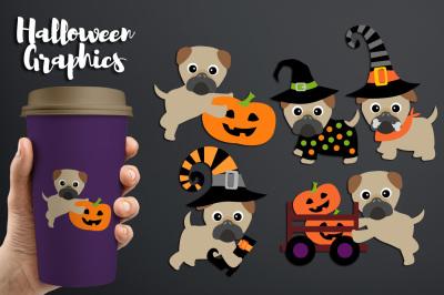 Cute Halloween Pugs Clipart, Pet dog graphics