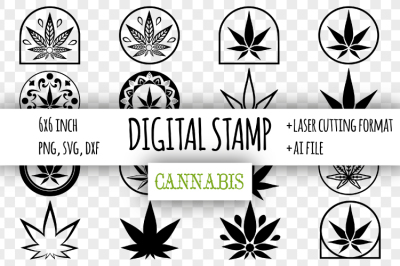 Cannabis digital stamp. Marijuana leaf clipart svg