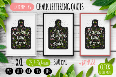 3 Chalk Lettering Food Posters Quotes Templates