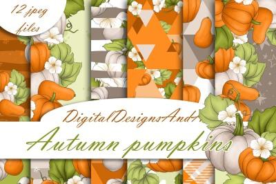 Autumn pumpkin digital paper
