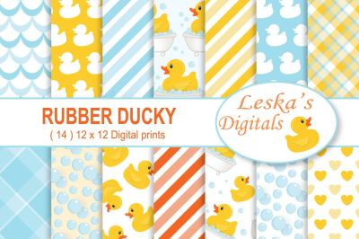 Rubber Duck Digital Paper Rubber Ducky Scrapbook Paper