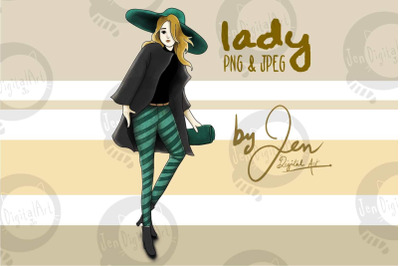Fashion Lady   Clip art illustration PNG JPEG