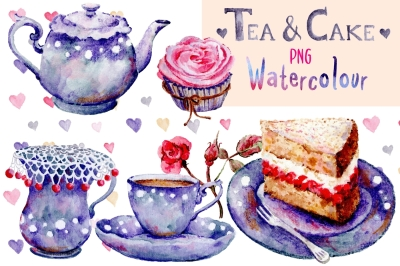 Tea and Cake | Watercolour clip art | Hand painted PNG
