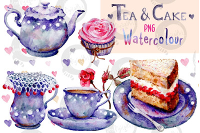 Tea and Cake   Watercolour clip art   Hand painted PNG