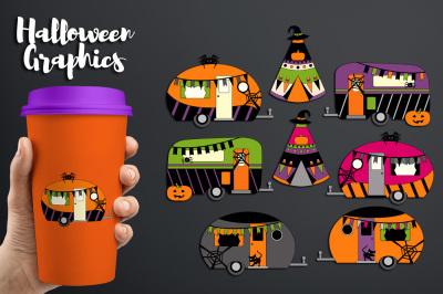 Camper Caravan RV Clip art, Halloween graphics