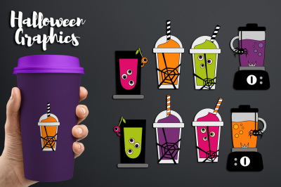 Halloween smoothie juice, blender, healthy drinks graphics